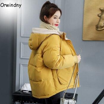Orwindny-manteau d'hiver féminin, veste d'hiver femme, 7 couleurs, capuche, mode 2020, tissu solide, vêtement d'extérieur Parka 1