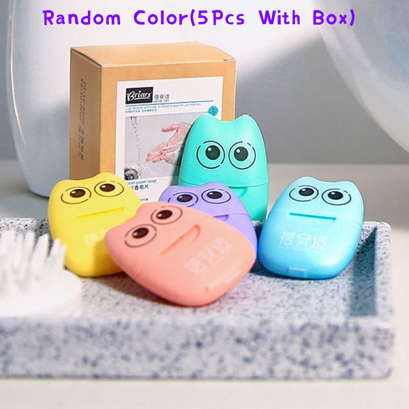 5 Pack Portable Disposable Paper Soap Mini Scented Slice Sheets With Storage Box Foaming Paper Soap Flakes Outdoor Hand Cleaning