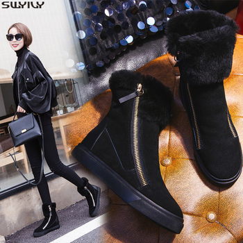 SWYIVY Genuine Leather Zip Wedge Shoes Woman 2019 Fashion Winter Womens Boots Ankle Platform Women Snow Boots Female Shoes Wool