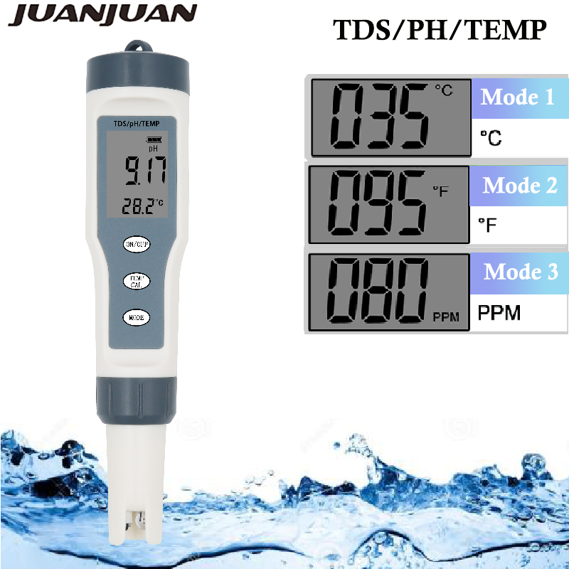 EZ9901 Digital TDS Meter 3 In 1 TDS Temp PH Tester Replace Probe Pen Filter Water Quality Water Purity Test Tool For Pool 20%OFF