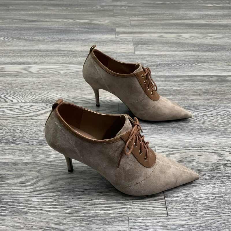 BEIJO Molhado Bombas Dos Saltos Altos Mulheres Costura Bombas Mulher Apontou Toe Sapatos Femininos Rendas Até sapatos De Festa Sapatos Primavera Tamanho grande 45