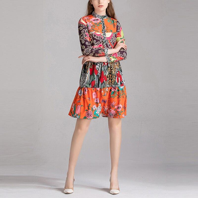Européenne haute qualité piste Designer robe femmes automne Vintage à manches longues Floral imprimé Midi robe en soie robe femme