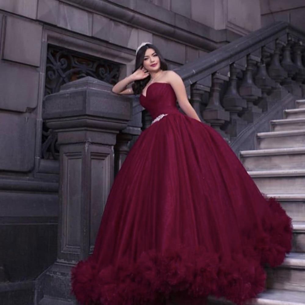 Burgundy Prom Dresses 2020 Sweetheart Neckline Crystal Ball Gown Pleats Evening Dresses Formal Dresses Robe De Soiree