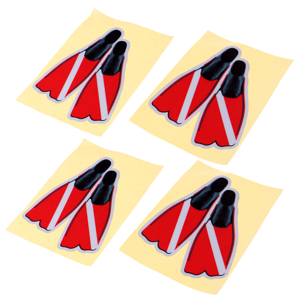 4 Pieces Of Flaps Reflective Waterproof Stickers For Water Diving Sport Made Of PET Material