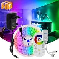 Tira de luces LED Flexible de 5m, 10m, 15m, RGB, cambiable, DC12V, 5050, controlador táctil RF + enchufe adaptador