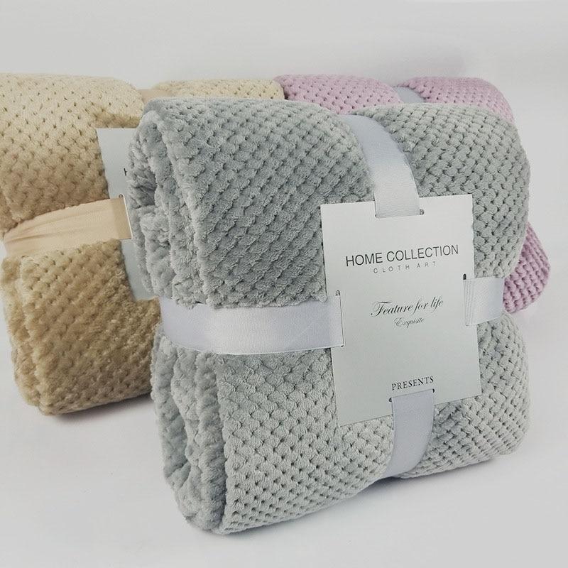 Home Textile 200x230cm Polar Fleece Fabric Pink Bedspreads Thick Fleece Throw Blanket For Sofa