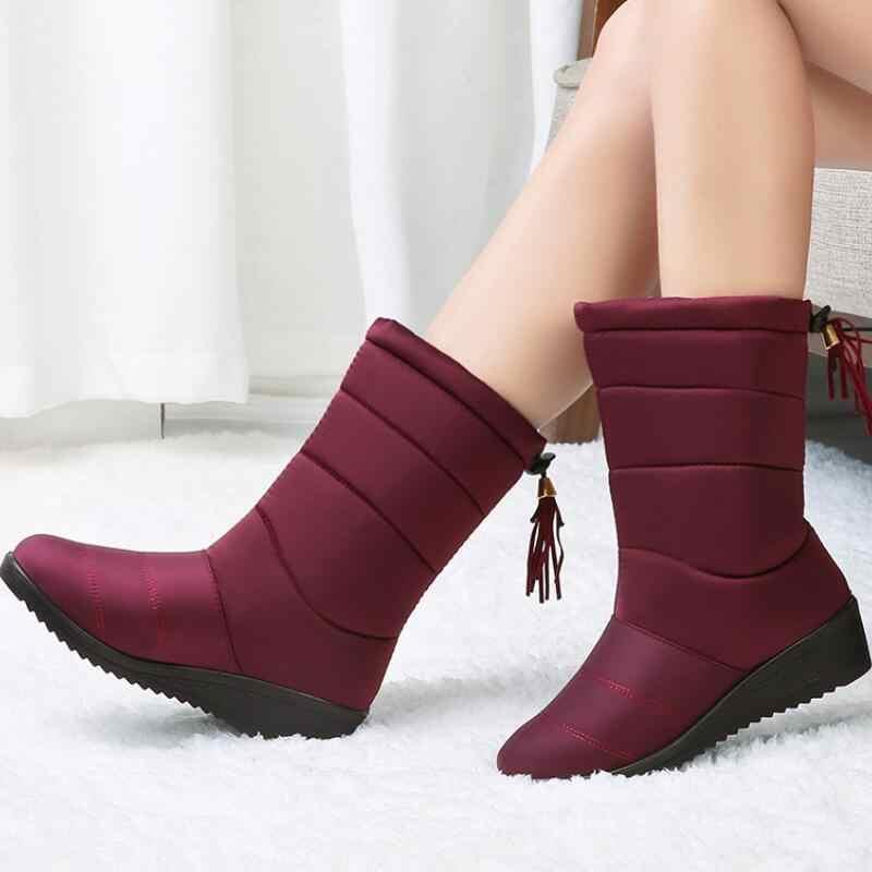 Botas de invierno impermeables, botines para Mujer, Botas de nieve con borla para Mujer, zapatos con plataforma elástica, Botas cálidas para Mujer 2020