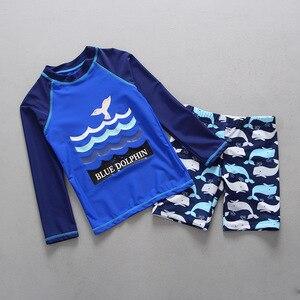 Image 4 - ملابس سباحة للأطفال أكمام طويلة ملابس سباحة للأطفال UPF50 الحماية من الشمس Rashguard الصبي ملابس حمام الشاطئ لباس سباحة للأولاد