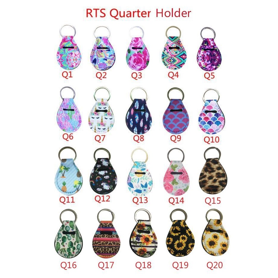 2pcs Coin Holder Chapstick Holder Neoprene Keychain, Unicorn Pattern Lip Palm Holder Floral Print With Metal Ring