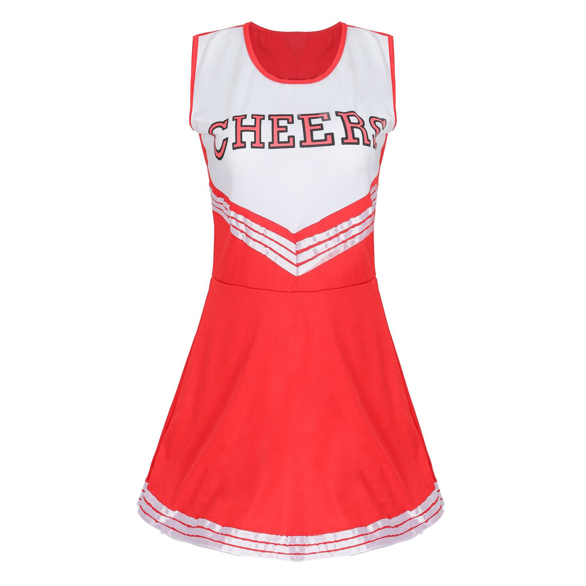 Cheerleader Stage Performance Red Dress+Pompoms Cheerleading Costumes Adult High School Cheer Uniform Girl Dancing Show