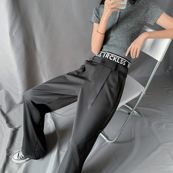 High Quality Straight Black Pants Women Letter High Waisted Drawstring Pants summer Casual Wide Leg Trouser Female Plus Size women high waist pants plus size long trouser female casual loose denim blue black wide leg pant work trouses