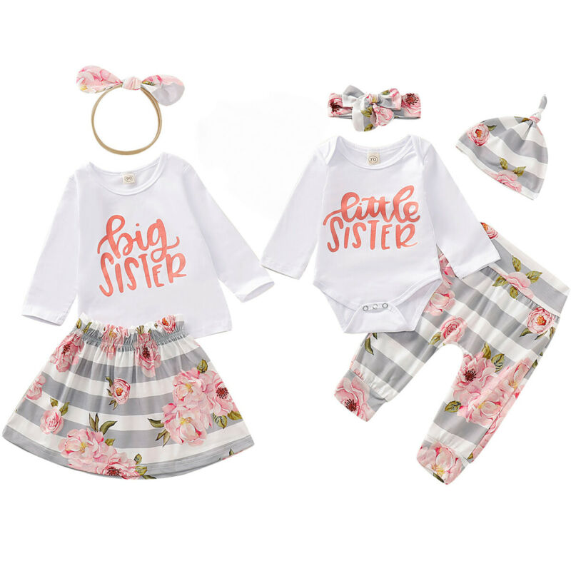 Little Big Sister Matching Dress Outfit Kids Baby Girl Floral Romper Clothes Set