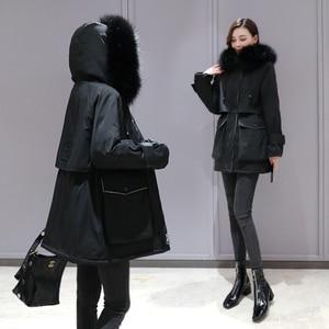 Image 3 - Plus Size Oversized Winter Omlaag Katoen Gewatteerde Jas Vrouwen Dikke Warme Lange Parka Mujer 2019 Grote Bontkraag Kapmantel vrouwelijke