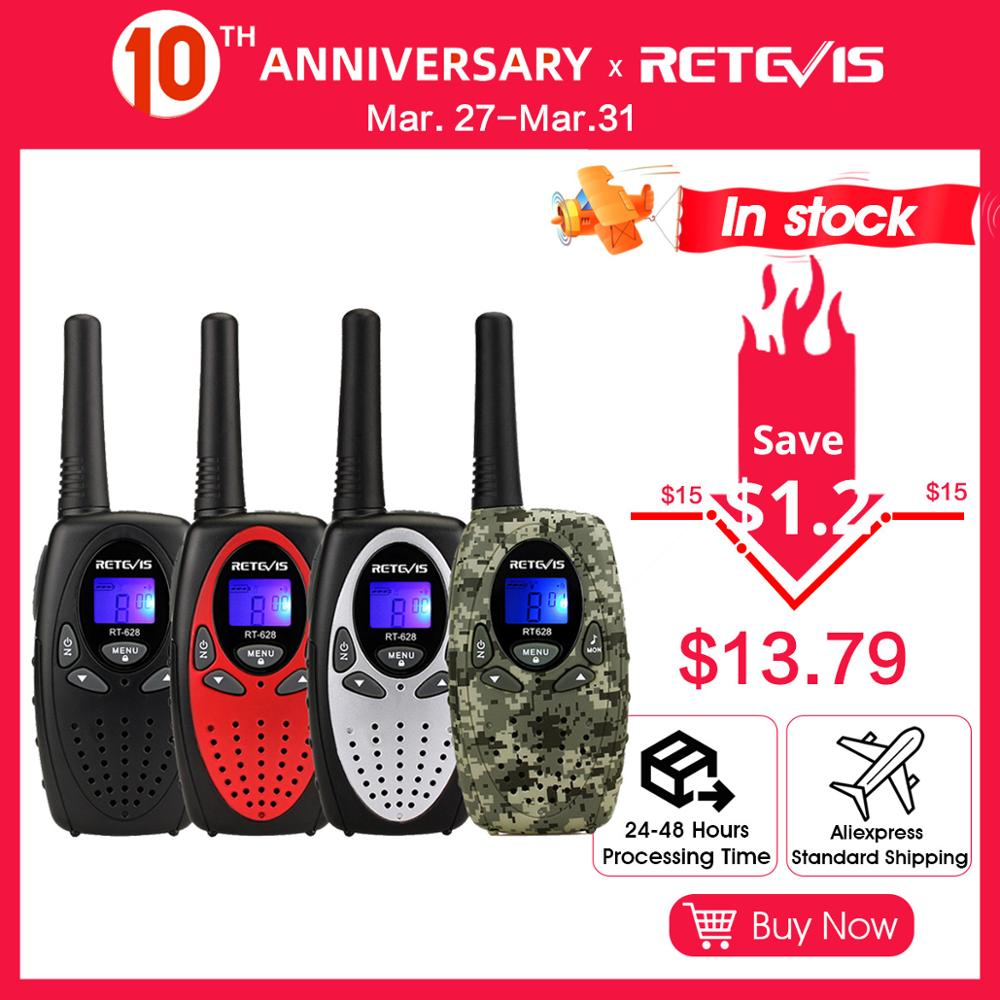 RETEVIS RT628 Mini Walkie Talkie Kids 2pcs  PMR Radio 4Colors 0.5W PMR PMR446 FRS VOX 2 Way Radio Festival Gift Toy Walk Talk