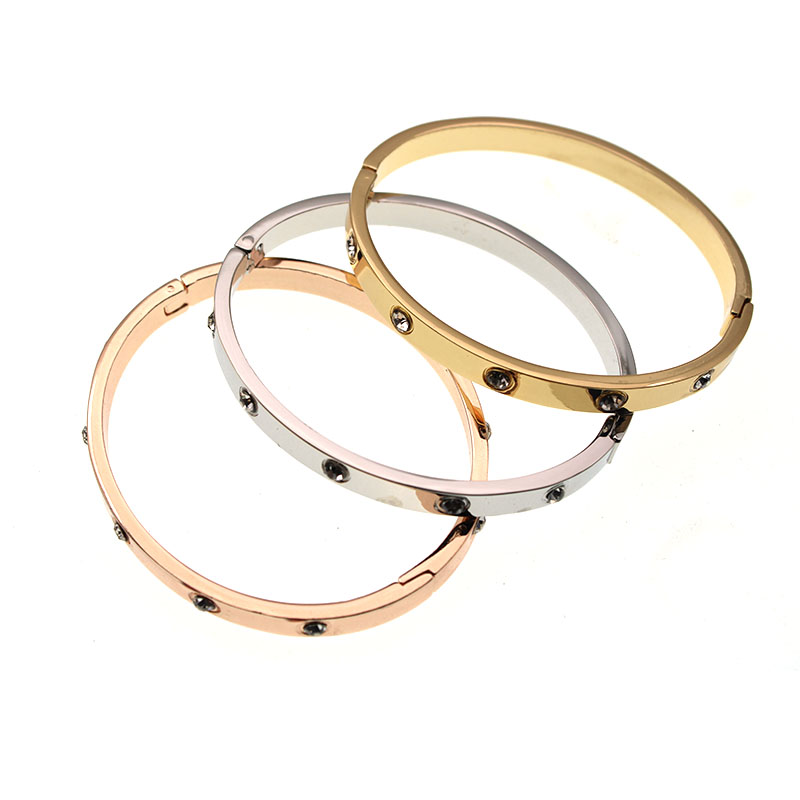 Trendy Brand Women <font><b>Bracelets</b></font> & Bangles <font><b>Open</b></font> Cuff Design Stainless Steel Crystal <font><b>Bracelets</b></font> Luxury Gold Jewelry for Wedding 17CM image