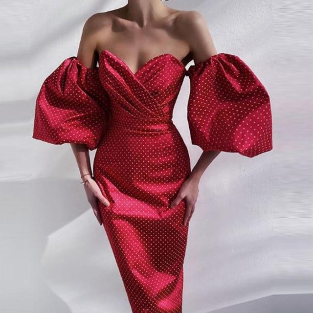 Elegant Lantern Sleeve Club Party Dress Retro Polka Dot Print Women Long Dress Sexy Off Shoulder Strapless Bodycon Dress Vestido 4
