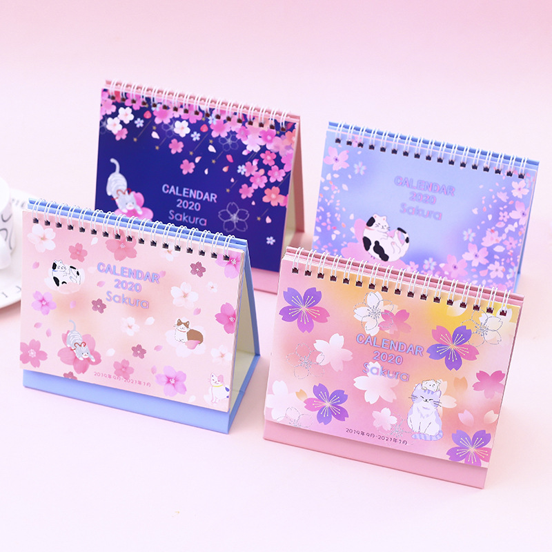 2020 Cute Cherry Blossom Desk Calendar Sakura And Cat DIY Table Calendars Daily Schedule Planner 2019.09~2020.12