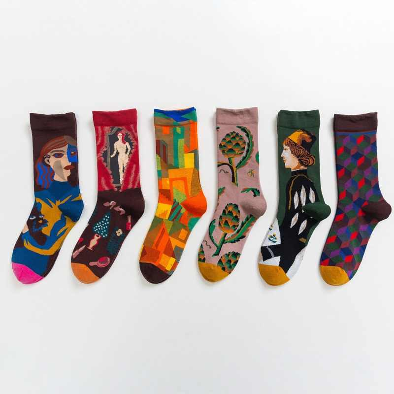1 пара носков унисекс, Забавные милые носки, подарок, Повседневная Уличная одежда, креативные носки в ретро-стиле с рисунком маслом, забавные, Популярные