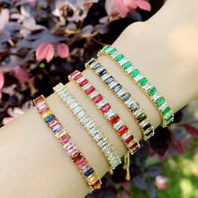 Luxury Rainbow Crystal CZ bracelet For Women Fashion Tennis Chain Adjustable Box Chain Bracelet 2020 New Jewelry Gifts crystal bead and crown bracelet safety chain luxury strand bracelet