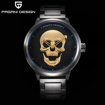 PAGANI DESIGN Punk 3D Skull Personality Retro Fashion Men's Watch Waterproof 30m Steel Stainless Quartz Watch  Relogio Masculino