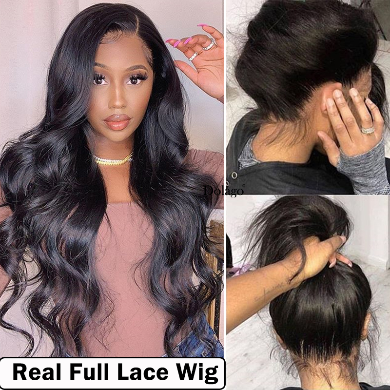 Body Wave Glueless Full Lace Human Hair Wigs 250 Density Transparent Brazilian Lace Wig With Baby Hair Fake Scalp Dolago Remy HD