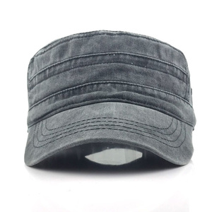 Image 5 - Classic Vintage Flat Top Mens Washed Caps Hat Adjustable Fitted Thicker Cap Military Hats For Men Casquette gorra hombre