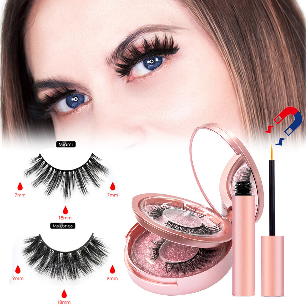 Double Layer 2 Pairs Magnetic False Eyelashes Waterproof Magnetic Eyeliner Set Easy To Operate NO Eyelash Glue Eyelash Extension