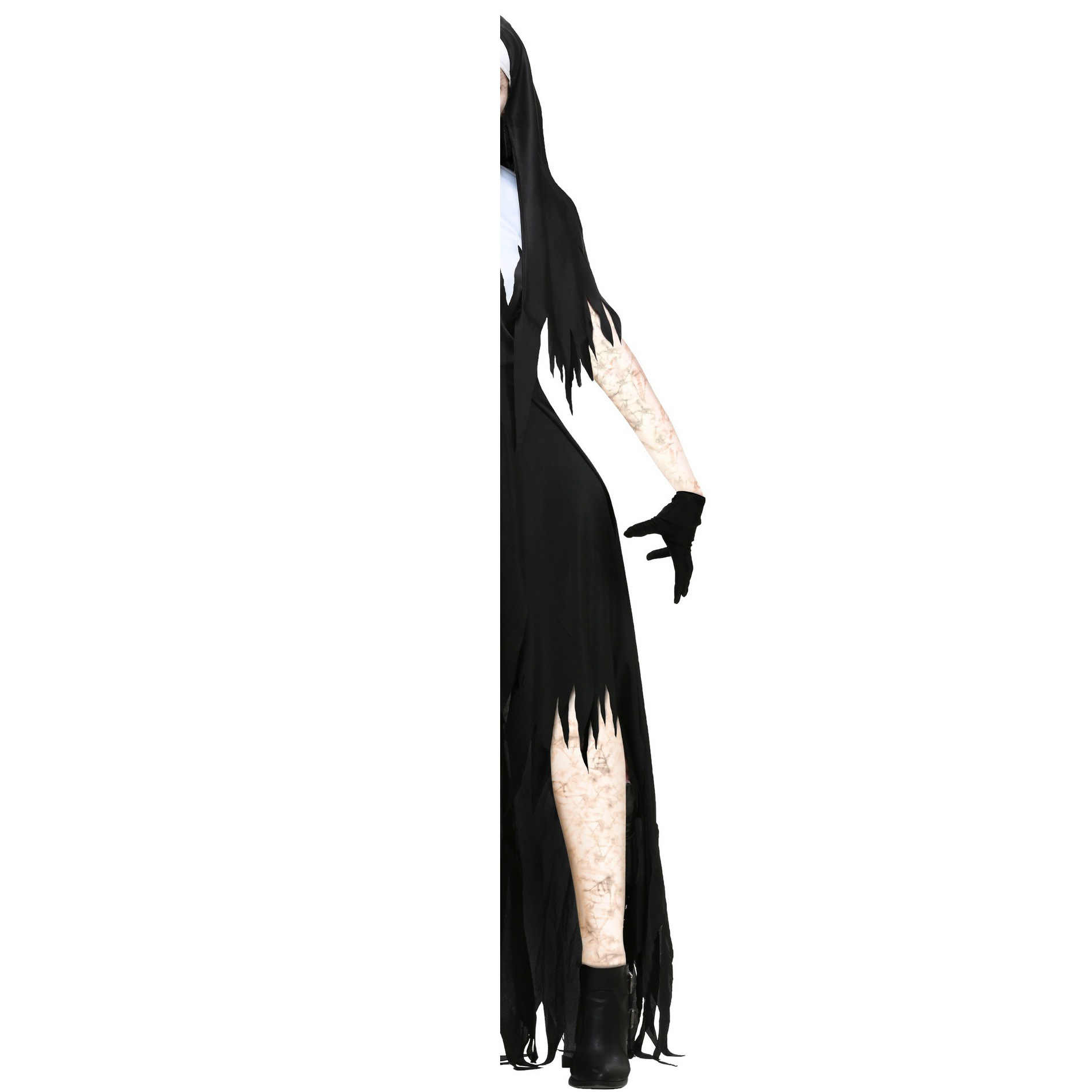 ליל כל הקדושים מפחיד נון קוספליי תלבושות נשים שחור ערפד פנטזיה שמלת מכשפה טרור אחות מסיבת תחפושת נשי Bruja שטן