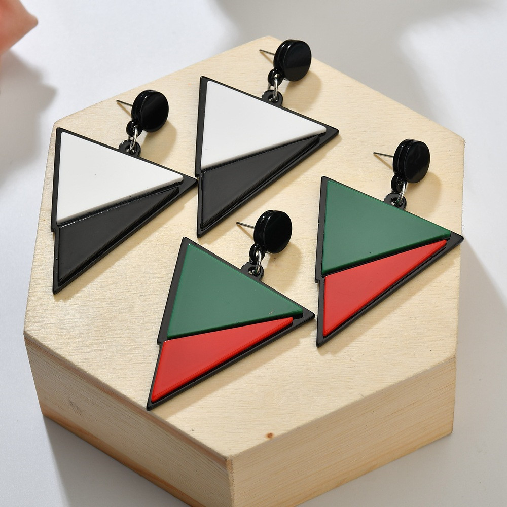 Geometric Triangle Earrings Black White Red Green Big Acrylic Earrings Minimalist Jewelry Simple Women Earrings Pendientes