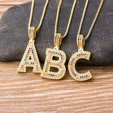 2020 New Fashion Luxury A-Z 26 Letters Necklace Rainbow CZ Pendant for Women Initials Name Necklace Party Wedding Jewelry Gifts