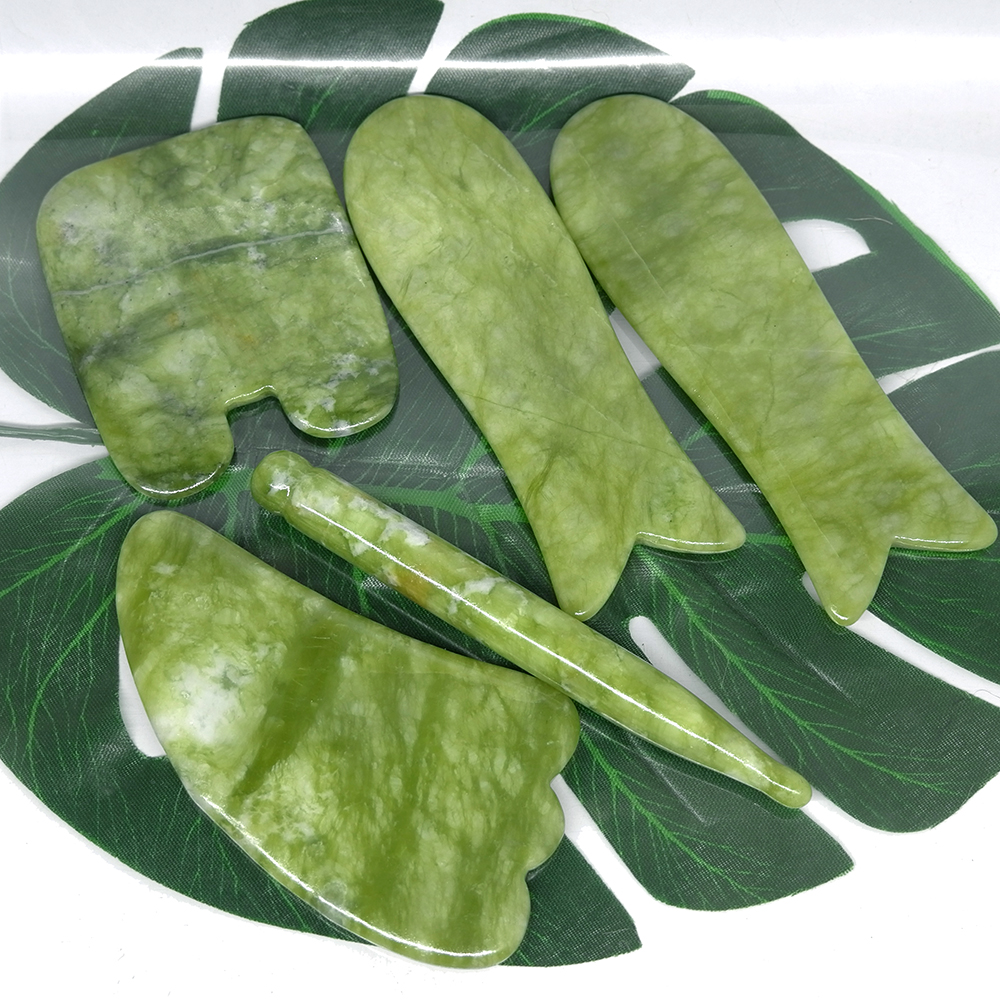 5pcs Gua Sha Scraping Massage Facial Skin Care Jade Back Body Massage & Relax Face Leg Slimming Thin Acupuncture Scraper V Line