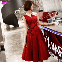 2019 autumn new women's variety of collar red modern slim bride toast usually wear dress Empire Solid