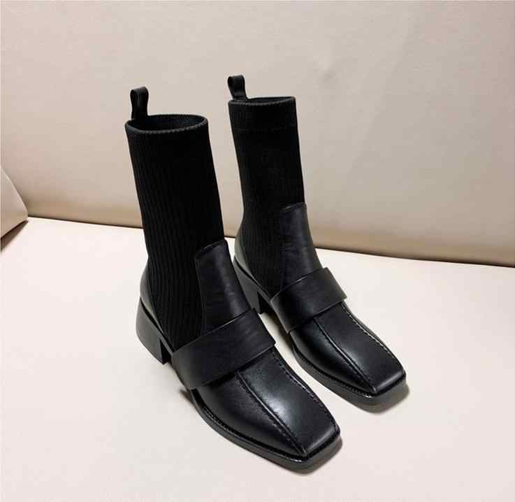 Chic Winter Boots Women Leather Sock Botas Mujer 2020 Patch Ankle Boots For Women Slip On Ladies Shoes Med Heels Bota Feminina