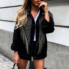 Kwastje Klinknagel Denim Jas Vrouwen Tops Herfst Lente Black Cool Uitloper Jassen Streetwear Punk 2019 Fashion Lange Mouwen Losse XL(China)
