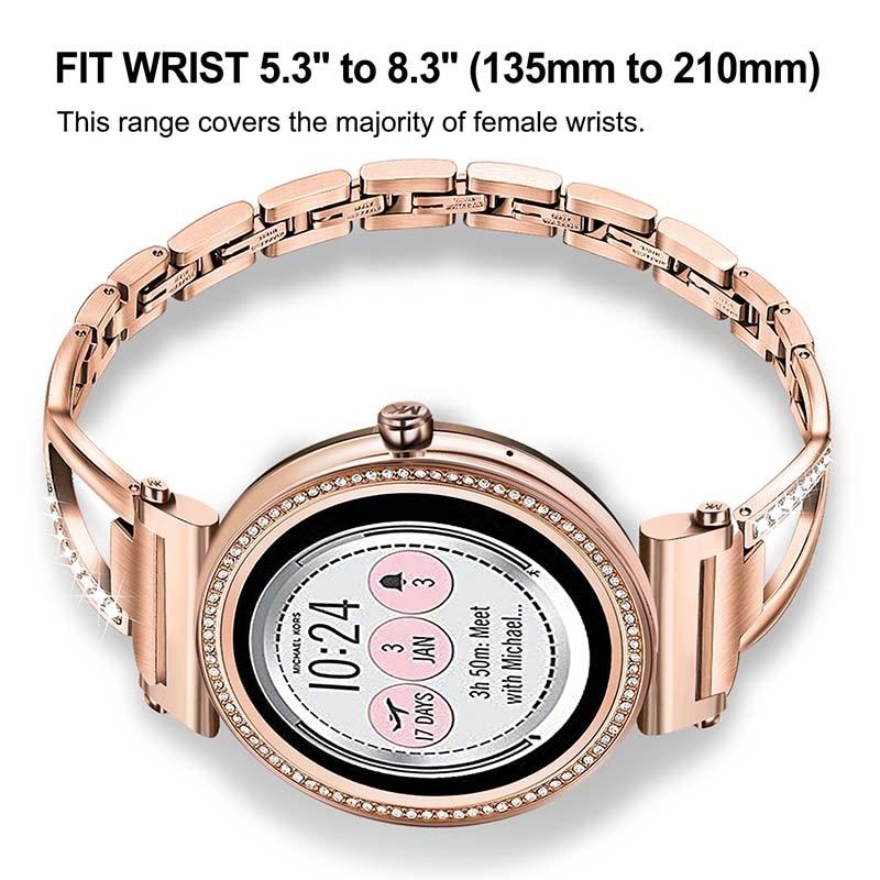 Stainless Steel Diamond Watchband For Michael Kors Mk Women S Access Sofie Sofie Hr Runway Smart Watch Band Wrist Strap Watchbands Aliexpress