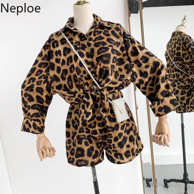 Conjuntos De Mujer Neploe Lece Camisa Solta Estampa de leopardo Cintura Alta Largura de Perna Curta Moda Outono 2 Set Piece mulheres 45985