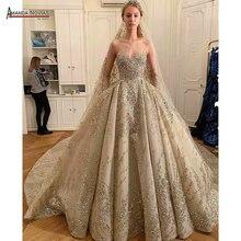 2020 vestido de noiva de luxo completo beading trabalho real casamento vestido amanda novias marca