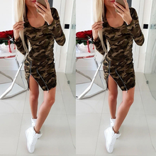 Camo Print Long Sleeve Women Dress Zipper Casual Ladies Camouflage Print Sheath Dresses Bodycon Short Mini Dress Fall robe D25 camo print mixed