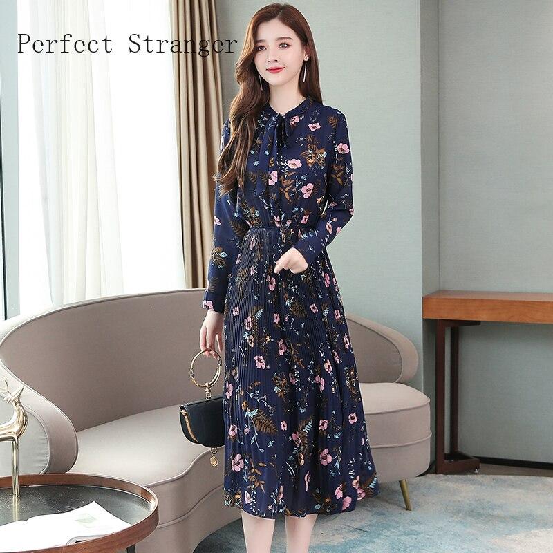 2020 Autumn New Arrival High Quality Elegant Bow Collar Long Sleeve Printed Women Chiffon Long Dress