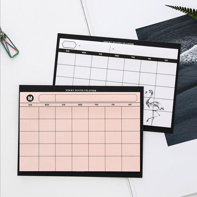 2019 Spiral Sticky Monthly Planner Weekly Notebook School Stationery Planner Work Pads Note It Do Paperlaria Study Memo Daily To