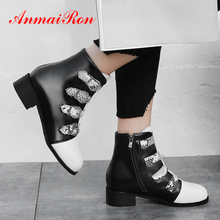 ANMAIRON Round Toe Hoof Heels Snake Boots Women PU Winter Zip Ankle Boots for Women Mixed Colors Short Plush Buckle Women Shoes