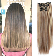 Clip-In Hair-Extensions Straight 140G Heat-Resistant-Fiber False-Styling Synthetic 6pcs/Set