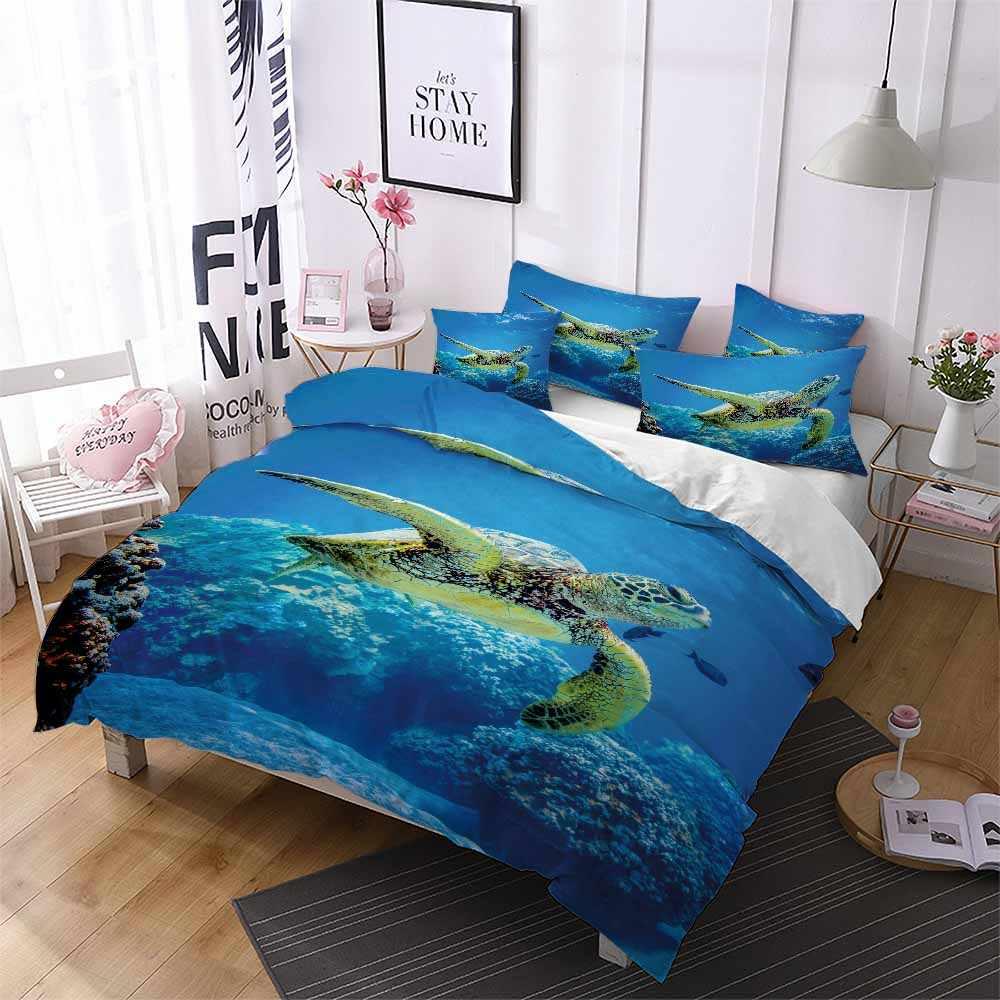 Microfiber Seaworld Bedding Set Big Turtle Blue Ocean Coral Duvet Cover Set Bed Linen Set Twin Full Queen King Size Gift Bedding Bedding Sets Aliexpress