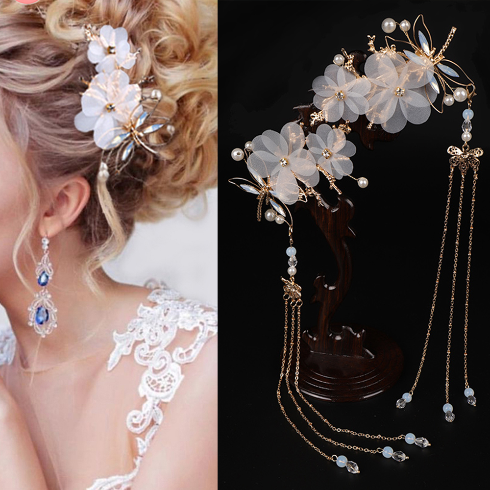 Chinese HANFU Traditional Classical Style Tassel Hairpin Dragonfly Butterfly Headwear Elegant Wedding Classical Hair Accessories