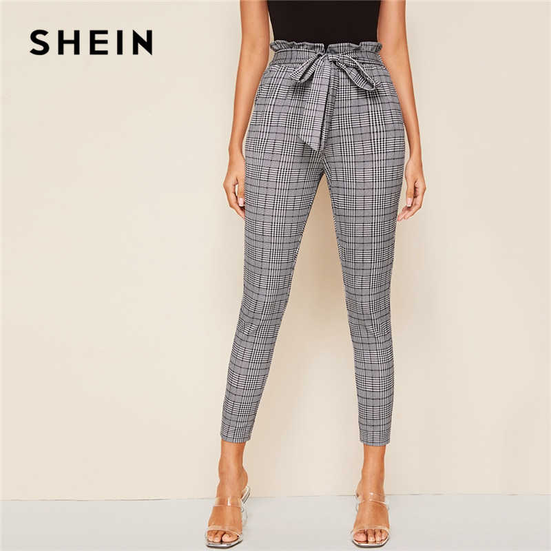 SHEIN Grey Plaid Paperbag Taille Self Belted Casual Broek Vrouwen Bottoms 2019 Herfst Hoge Taille Office Dames Skinny Broek