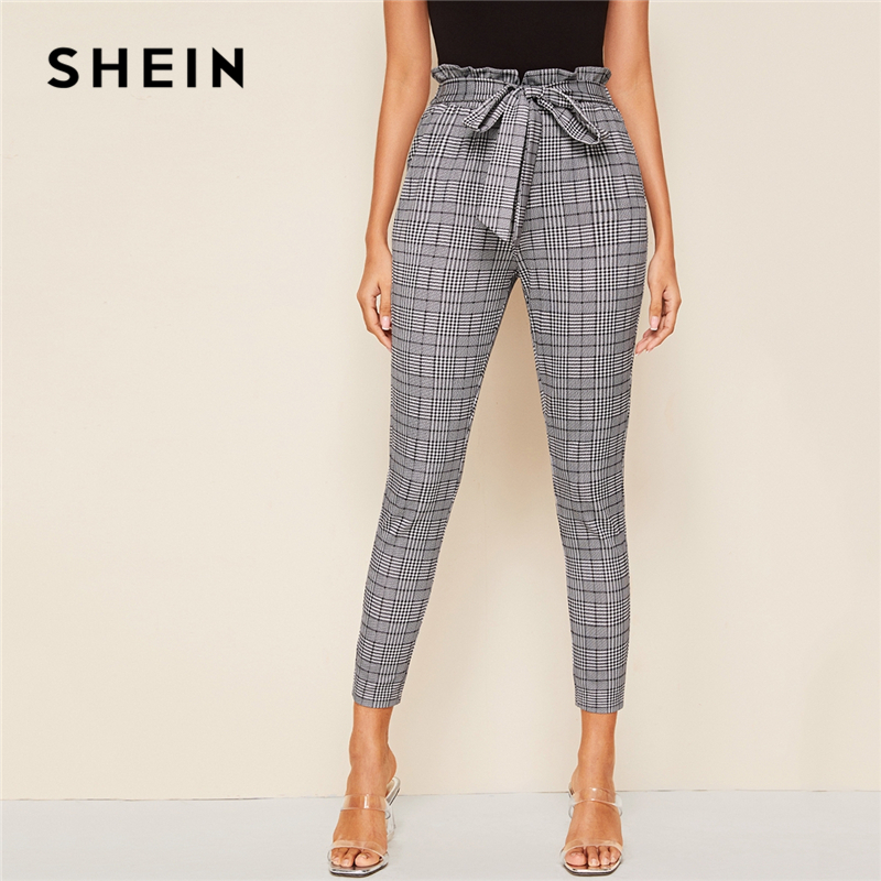 SHEIN Grey Plaid Paperbag Waist Self Belted Casual Pants Women Bottoms 2019 Autumn High Waist Office Ladies Skinny Trousers