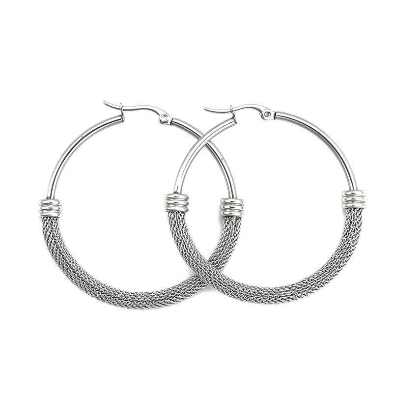Fashion Stainless Steel Hoop Earrings Round 4 Sizes Trendy Women Girls Jewelry Gift, Post/ Wire Size: (18 gauge), 1 Pair