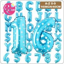 16 Polegada feliz aniversário balões azuis folha número da letra balões aniversário festa de casamento decoração crianças chuveiro do bebê balão de ar