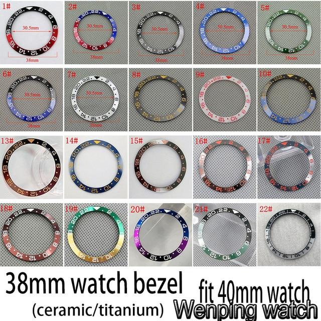 Nuovo 38 millimetri di alta qualità GMT ceramica/titanium Inserto lunetta misura 40 millimetri della cassa per orologi mens GMT orologio lunetta