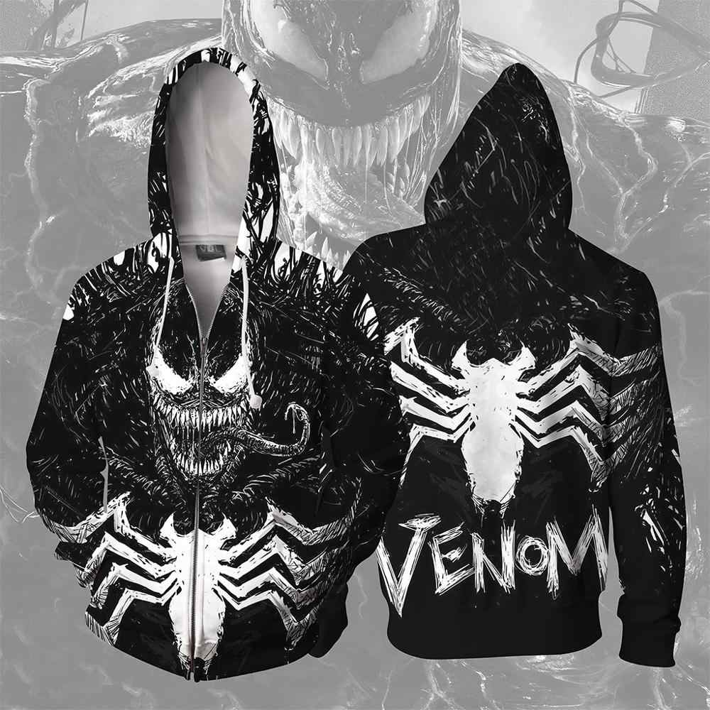 Movie Venom 3D Print Hoodie Spiders Anime Cosplay Hoodies Mannen Vrouw Mode Rits Vest Hooded Jas Streetwear Sweatshirt
